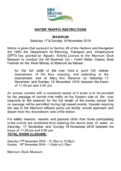 Traffic and Water Restrictions for All Steamed Up - Visit