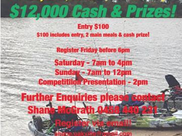 $12000 prize pool for Kayak Fishing  competition at Bowhill